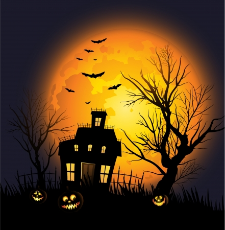 Halloween background with haunted house and creepy tree