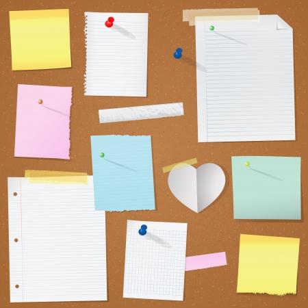 illustration paper notes on cork board
