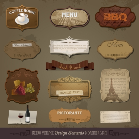 Vintage And Retro Design Elements, old papers, labels
