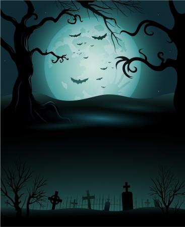 Creepy tree Halloween background copyspace