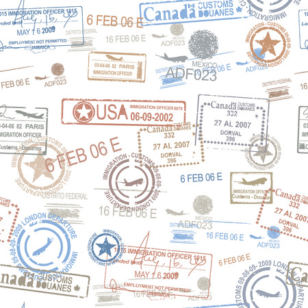 Photo for Rubber passport stamps travel symbol - Royalty Free Image
