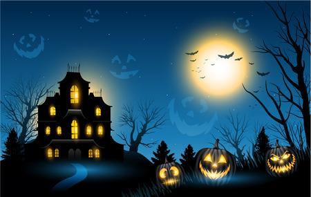 Illustration pour Halloween haunted house copyspace background - image libre de droit