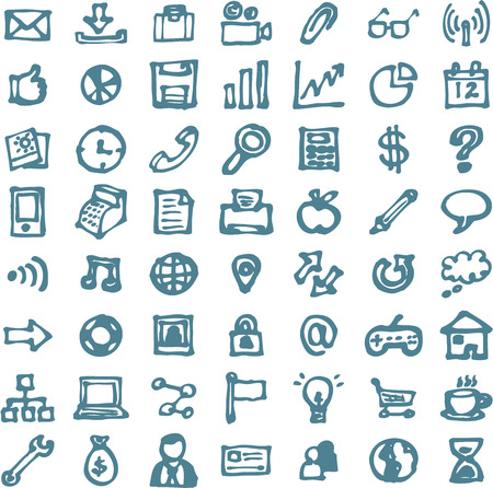 Blue business hand drawn doodles highligher icons