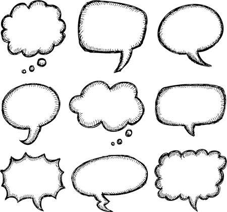Hand drawn comic speech bubble set