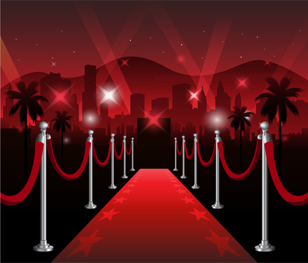 Red carpet  premiere elegant event with hollywood in background