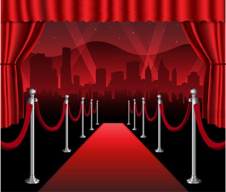 Illustration pour Red carpet movie premiere elegant event with hollywood in background - image libre de droit