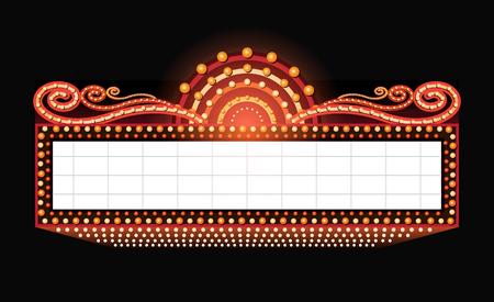 Illustration for Brightly vintage glowing retro cinema neon sign - Royalty Free Image