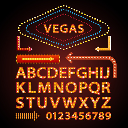 Illustration pour Vector orange neon lamp letters font show cinema and theather - image libre de droit