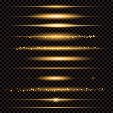 Ilustración de Gold glittering star dust trail sparkling particles on transparent background. - Imagen libre de derechos