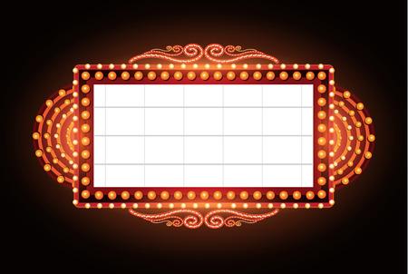 Ilustración de Brightly vintage glowing retro cinema neon sign - Imagen libre de derechos