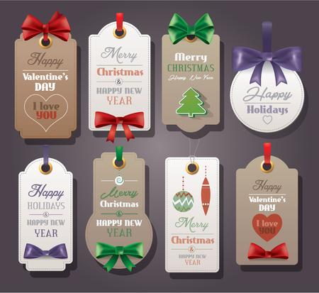 Ilustración de Set of vintage tags with silk bows for Christmas and Valentine s Day - Imagen libre de derechos