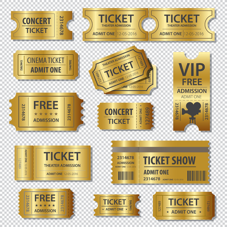 Illustration for Set of golden tickets and coupons templates - Royalty Free Image