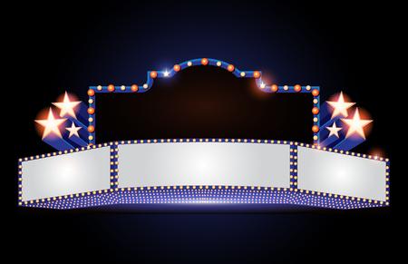Ilustración de Brightly theater glowing retro cinema neon sign - Imagen libre de derechos
