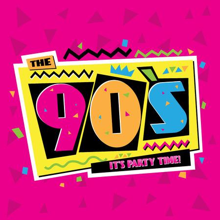 Illustration pour Party time The 90s style label. Vector illustration. - image libre de droit
