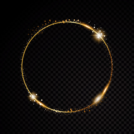Ilustración de Vector round frame. Shining circle banner. Isolated on black transparent background. Vector illustration - Imagen libre de derechos