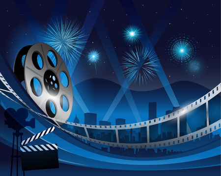Illustration pour Blue film reel movie background in front of hollywood city at night - image libre de droit