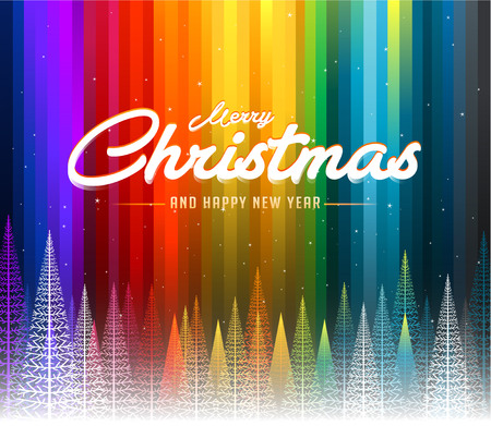 Illustration pour Merry Christmas colorful abstract line rainbow background - image libre de droit
