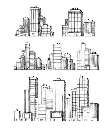Hand drawn urban city vector buildings skyscrapers