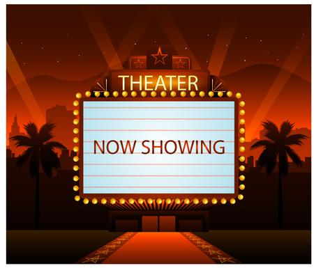 Illustration pour Hollywood movie red carpet background and party city - image libre de droit
