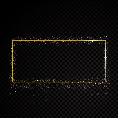 Illustration pour Rectangle sparkle golden frame. Isolated on black transparent background. Vector illustration - image libre de droit