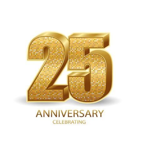 Photo pour 25 anniversary golden numbers isolated on black transparent background. Vector illustration - image libre de droit