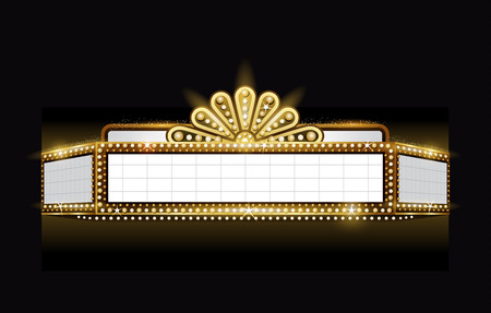 Illustration for Brightly theater glowing retro cinema neon sign - Royalty Free Image
