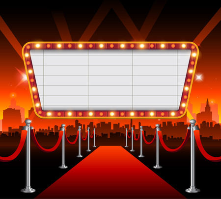 Illustration pour Hollywood city red carpet background - image libre de droit