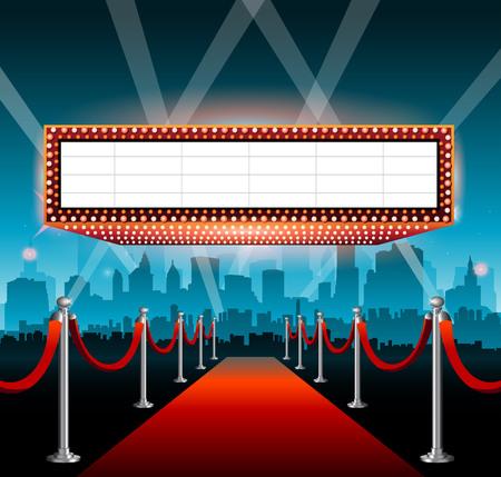 Illustration pour Hollywood movie red carpet background and city - image libre de droit