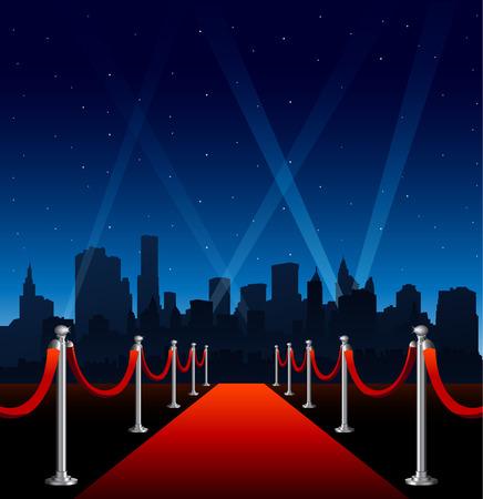 Illustration pour Red carpet hollywood big city event background - image libre de droit