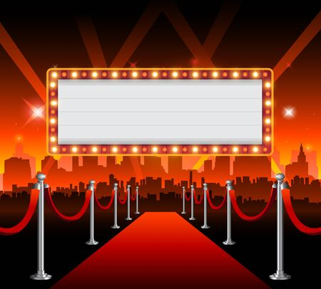 Illustration for Golden casino banner theater sign copy space - Royalty Free Image