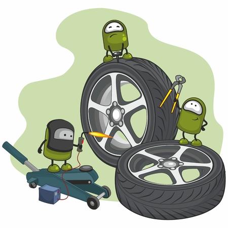 Small characters repairing car wheels