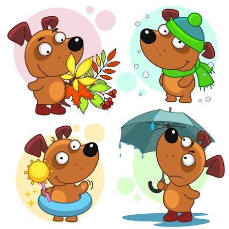 Illustration pour Set of illustrations with dogs. Seasons summer winter, spring and autumn. A dog under an umbrella and a bouquet of autumn leaves. - image libre de droit