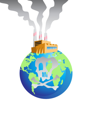 the polluted factory on the globe