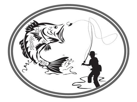 the design of fishing bass emblem