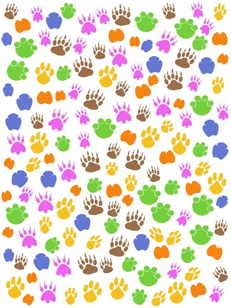 the colorful seamless background of animals footprint