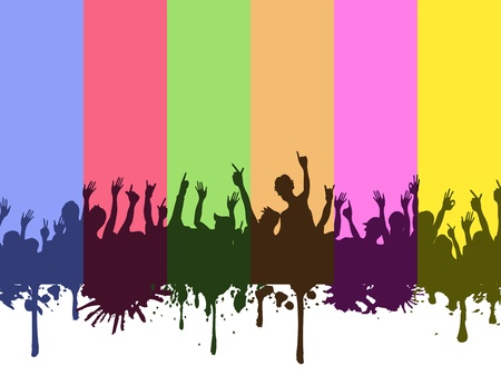 colorful rainbow background of rock crowds