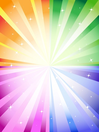 A colorful background with a burst and stars