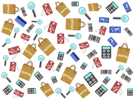 shopping icons seamless background for design