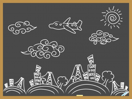 hand drawing doodle travel background drew on blackboard