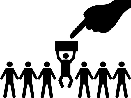 A person is selected from a group for employment
