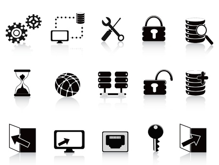the set of black database and technology icon