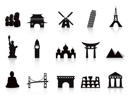 black landmark icons for travel design