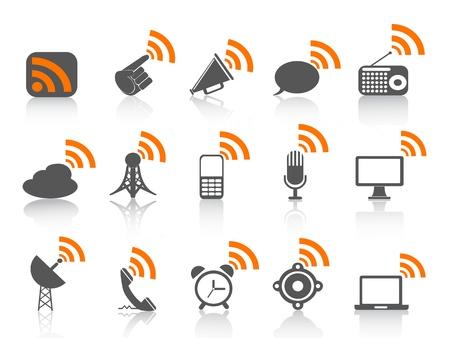 isolated communication icon with orange rss symbol on white background