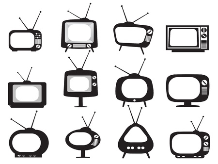 Foto de isolated black retro tv icons set on white background - Imagen libre de derechos