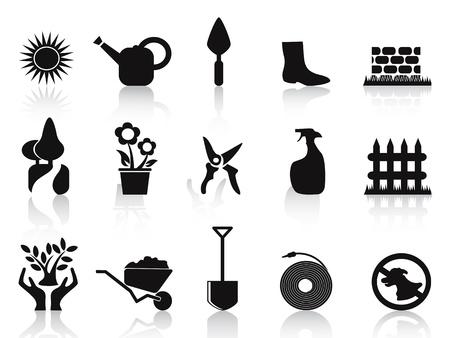 isolated black garden icons set on white background