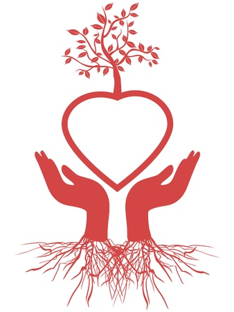 the symbol of hand holding red heart tree
