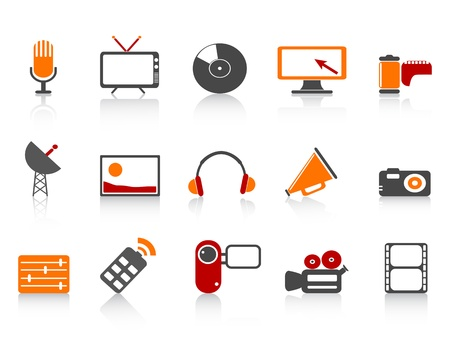 isolated simple media tools icon set on white background