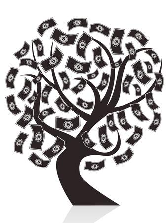 isolated black money tree on white background