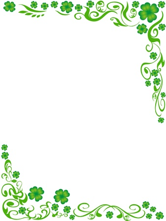 Illustration pour the background of four-leaved clover frame with copy space in the middle - image libre de droit