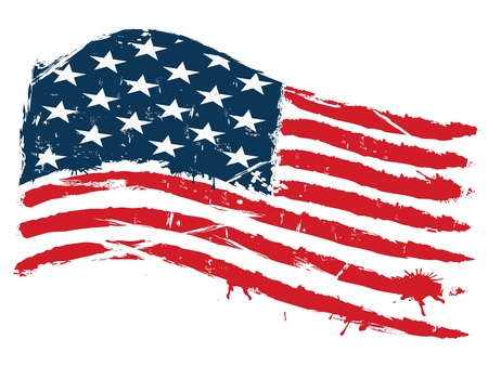 grunge background of curved usa flag
